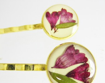 Coral Bells Hair Pins, Pair of Real Flower Hair Pins,  Resin, Pressed Flower Jewelry, Brass (1729)