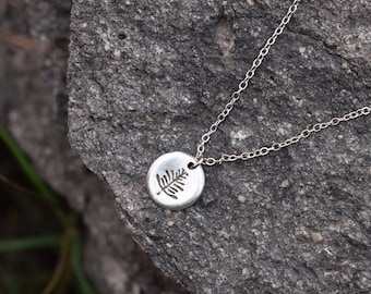 Metal Stamped Leaf Pendant Necklace