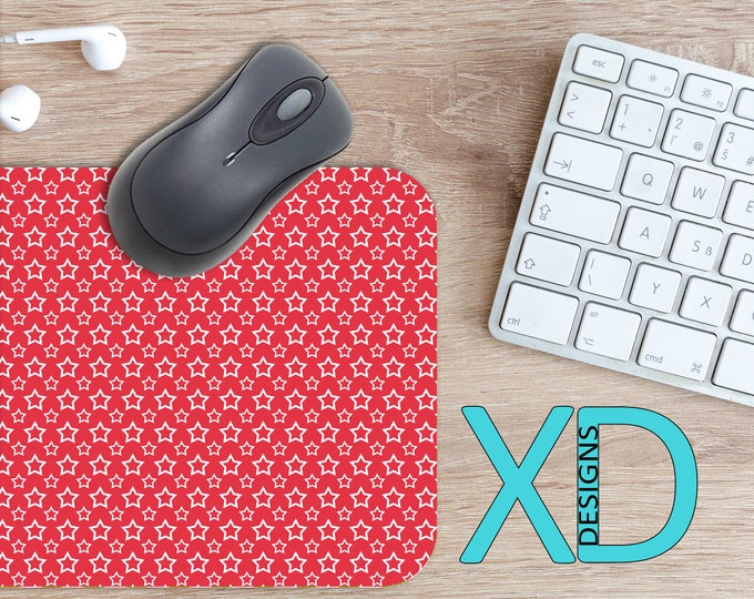 Red Star Mouse Pad, Red Star Mousepad, Outlines Rectangle Mouse Pad, Red, White, Outlines Circle Mouse Pad, Red Star Mat, Computer, Simple