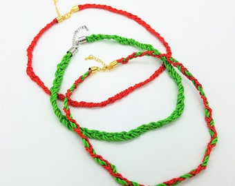 Red & Green Triple Braided Holiday Cord Necklaces With Gold Plate, Rhodium Plate or Gunmetal Gray Clasp