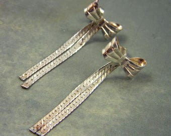 Vintage Sterling Silver Bow Earrings, Long Dangle Earrings, Bridal Earrings, Wedding Earrings, Drop Earrings, Long Earrings, Gift for Her