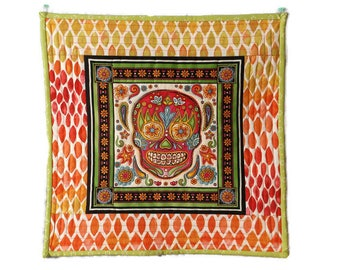 Sugar Skull Quilt, Mexican Quilt, Day of the Dead Decor, Mexican Folk Art, Sugar Skull Decor, Mexican Decor, Sugar Skull Fabric, Sugar Skull