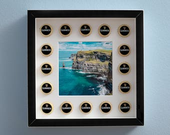 Photo with frame, Guinness beer with caps, photo from furniture, photography with caps