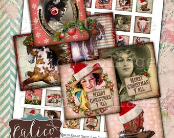 Printable, 1x1 Inch Squares, Country Christmas, Western Holiday, Cowgirl Christmas, Digital, Collage Sheet, Calico Collage, Digital Images