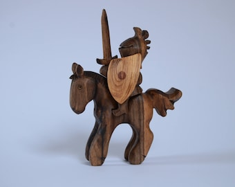 Knight on Horse Wooden Toy