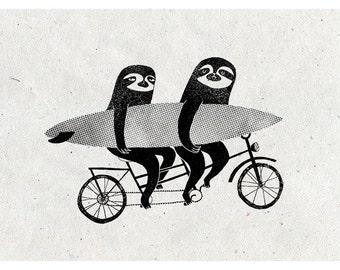 Tandem Sloth A3 print