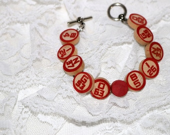 Upcycled Bingo Chip Bracelet - Recycled - Vintage - Wooden Chips