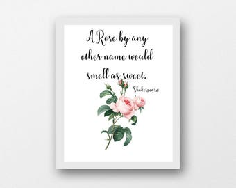 A rose by any other name would smell as sweet, Shakespeare quote, classical literature instant printable, wall art, pink roses print