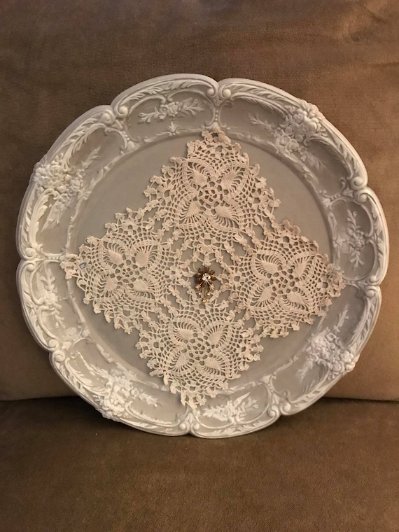 Vintage Tray with Doily and Charm - Up cycled Art