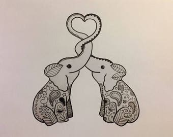 Loving Elephants - Print