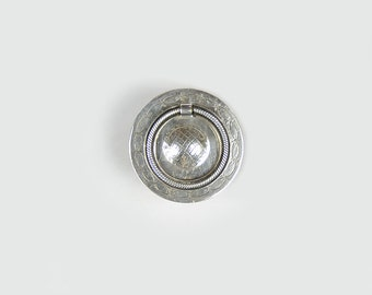 Arts & Crafts Drawer Pull, Vintage Drawer Pull, Round Drawer Pull, Furniture Restoration Hardware, Silver Drawer Pull, Antique Hardware B81