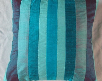 teal blue and aqua blue  striped throw pillow cover.  decorative blue stripe   cushion cover. Custom made colours of your choice. 18inch