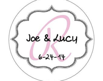 Personalized Wedding Favor Monogram Border Labels (pack of 96)