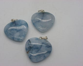 heart 25 mm x 27 mm with his blue jade