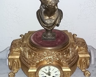 Antique large French mantle clock gilt metal Mercury bust lions feet circa 1880s