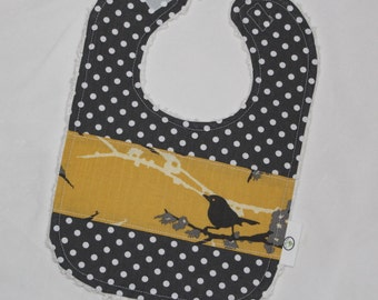 Yellow and Gray Sparrows and Dots Chenille Boutique Bib - SALE