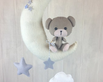 Baby mobile - teddy bear mobile - star mobile - blue mobile - moon mobile - cloud mobile - teddy bear nursery - nursery decor-