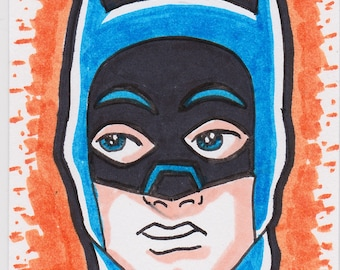 "Batman 66 Adam West artist trading card ACEO 2 1/2"" x 3 1/2"""