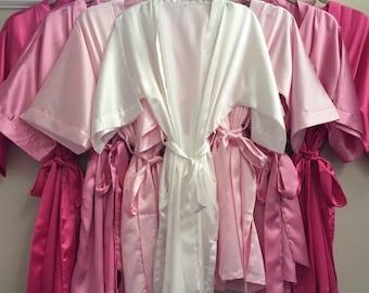 Bridesmaid and Bride (set of 6) Monogram Satin Robe with Pockets
