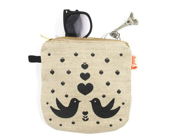 Black Print Lovebirds Linen Zipper Pouch