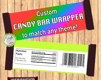 Custom Candy Bar Wrapper, Personalized Candy Bar Wrapper, Custom Favors,- PRINTED & SHIPPED