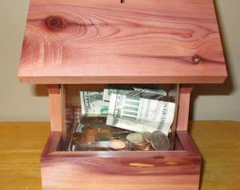Cedar Wellhouse Coin Bank