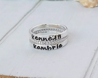 3 pc set, Custom Stacking Rings, Sterling Silver Name Ring, Stackable Name Rings, Personalized Name Ring, Name ring, Silver Stacking Ring