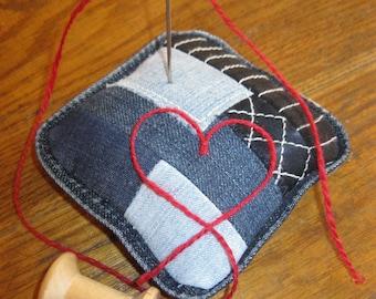 Denim pin cushion, patchwork pin cushion