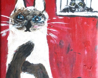 art painting siamese cat red background funky cat art whimsical cat painting  beige black red 5 by 5 inches home decor