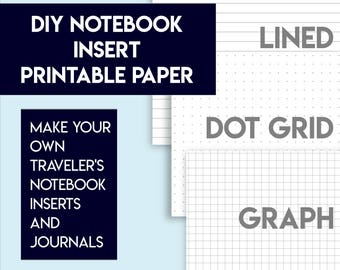 Lined, dot grid, and graph digital paper printables | diy notebooks and inserts | bookbinding | diy journals