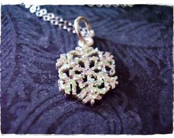 Glitter Snowflake Necklace - Sterling Silver Glitter Snowflake Charm on a Delicate Sterling Silver Cable Chain or Charm Only