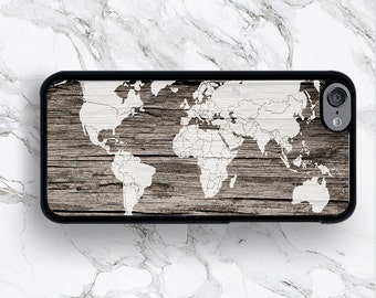 iPod Touch 6th Gen World Map Art on Wood Cases iPod Touch 6G, Raw Wooden Pattern iPod 6 Covers,  iTouch 5th 5G 5 Generation 4 4G Covers