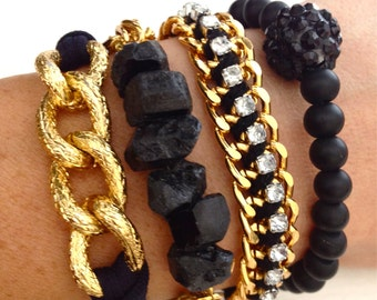 Gold and Black Arm Candy Stack