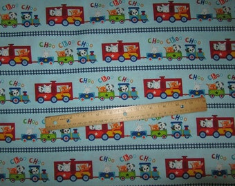 Studio Off We Go Blue Vertical Animals in Train Cotton Fabric by the Yard