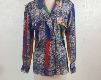 Vintage 1980s  Stuart Lang Abstract Graffiti Long Sleeve Blouse Black and White with Primary Colors Size 8