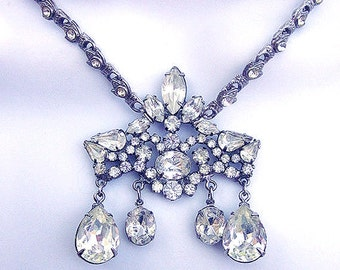 Vintage Rhinestone Assemblage Necklace Bridal Jewelry Repurposed Vintage Crystal Jewelry