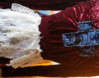 Crushed velvet vampire jacket burgandy lace ribbons braid destroyed shabby magic