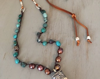 Bohemian Crocheted Chrysocolla and Pearl Necklace