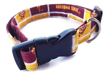 ASU Dog Collars, Handmade Dog Collar, Medium and Large, Gift For Him, Adjustable Collar
