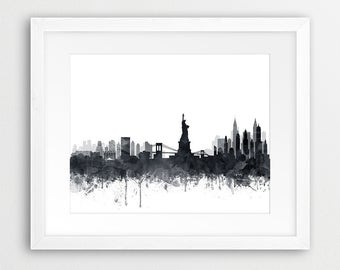 New York Print, New York City Skyline, New York Wall Art, Grey Black White Watercolor NYC, Modern Wall Art, Home Office Decor, Printable Art