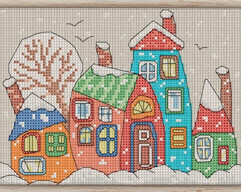 Cross Stitch Pattern Winter Houses