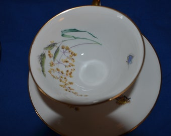 ON SALE  One Vintage Teacup and Saucer  by Heinrich and Co. Bavaria Germany
