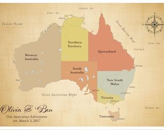 australian map personalized map anniversary map australia push pin travel map push