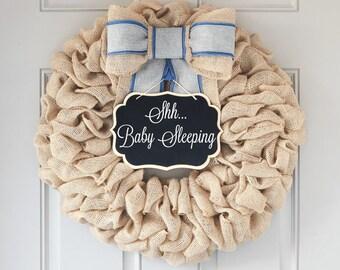 Baby Shower Gift, Hospital Baby Wreath, Baby Hospital Hanger, Welcome Baby Wreath for Hospital