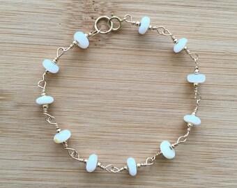 Mexican Opal Bracelet, 14K Gold Filled Bracelet, Opal and Wire Wrapped Gold Bracelet, Beaded Bracelet, October Birthstone Bracelet