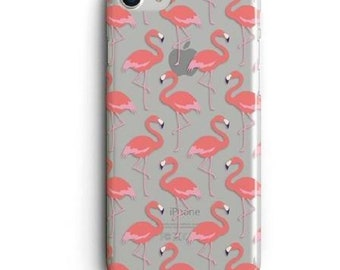 Pink Flamingos Clear Phone Case