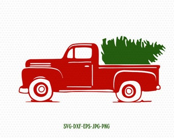 Truck Tree Retro Vintage Winter Holiday Svgmerry ChristmasChristmas SVG Cutting File Svg