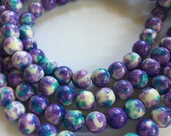 8mm JADE Beads in Purple, White, Turquoise Blue, White, Dyed, Round, Full Strand, 50 Pcs, Multi Colored Gemstone, Stone Beads