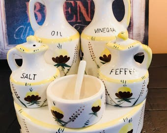 Vintage Hand Painted Condiment Set with Caddy