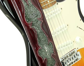 Exotic Leather Guitar Strap, Custom Leather Guitar Strap:  Dhar-Theer Guitar Strap